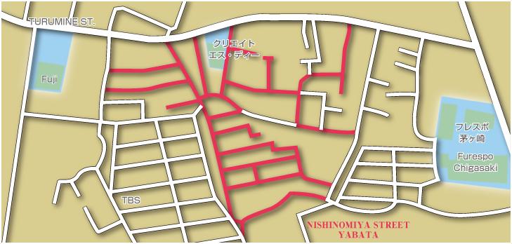 ニシノミヤストリート矢畑地図
